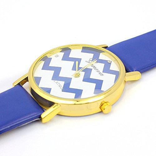 Zps(Tm) Moire Watch Pu Leather Quartz Wrist Watches(Dark Blue)
