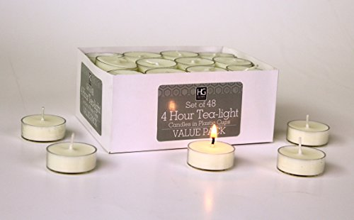 Hosley's Set of 48 Tea Lights. Hand Poured. Long Lasting. Using a High Quality Wax Blend. Ideal for Weddings, Spa, Aromatherapy, Special Events and Everyday Use