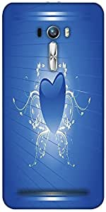 Snoogg Blue Heart Shape With Floral Art Designer Protective Back Case Cover F...