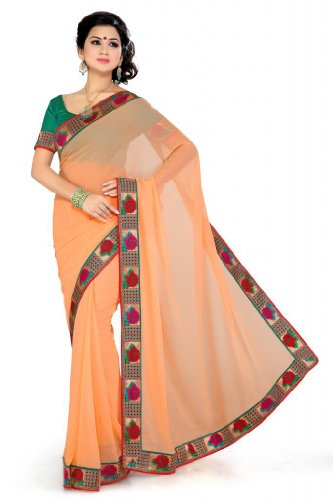 De Marca Women Orange Faux Georgette Casual Saree
