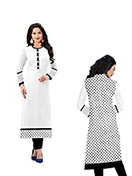 Angel Sales White Printed Semi Stiched Kurti