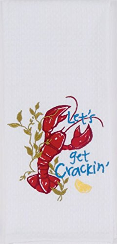 Kay Dee Designs Kitchen Embroidered Waffle Towel, Crackin' (Lobster), F0730