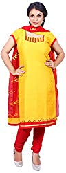 Raahi Unstitched Yellow Cotton Embroidered Dress Material - Salwar Suit