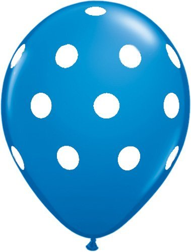 "Single Source Party Suppies - 11"" Big Polka Dots Standard Dark Blue Latex Balloons - Bag of 10 - 1"