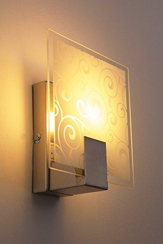 Lampada da Parete Applique in Metallo Spazzolato con Vetro Decorato + Interruttore Corridoio NEW