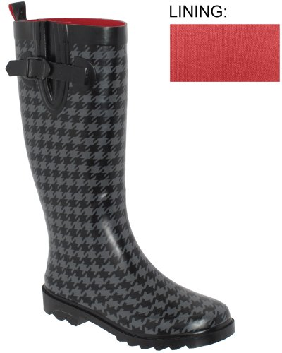 Capelli New York Shiny Classic Houndstooth Printed Lades Tall Sporty Rain Boot Grey Combo 10