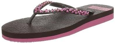 Isotoner Women's Beaded Yoga Mat Brown Flip Flops 4823BRN6 6 UK
