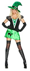 Smiffy's Women's Wicked Bitch Costume with Dress Hat and Gloves, Black/Green, Small