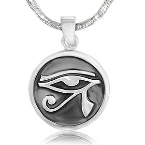 925 Sterling Silver Eye of Horus Medallion Egypt Protection Pendant