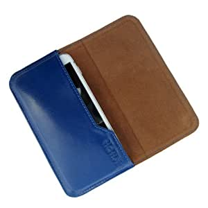 i-KitPit : Genuine Leather Flip Pouch Case Cover For Intex Cloud Y1 (BLUE)