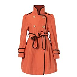 Richie House Girl\'s Orange Flared Top Coat with Chocolate Trim RH0936-7/8-FBA