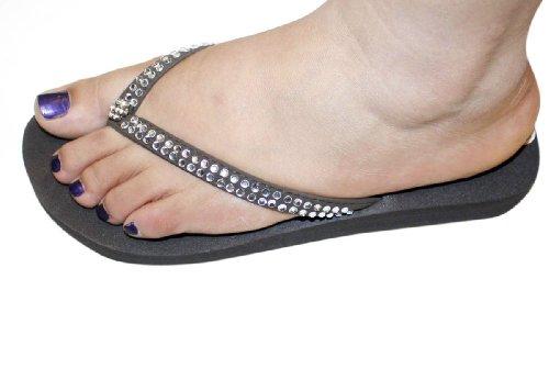 Womens Sandal Flat Beach Flip Flops Clear Rhinestone Style Thongs Flats Sandals