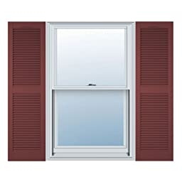 12 in. Vinyl Louvered Shutters in Burgundy Red - Set of 2 (12 in. W x 1 in. D x 75 in. H (7.11 lbs.))