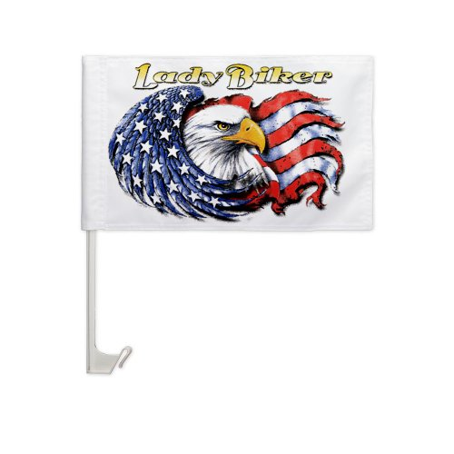 Car Flag (2-Sided) Lady Biker  United States