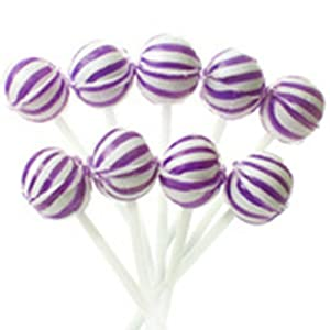 Grape Petite Sassy Suckers Purple & White Striped Ball Lollipops 20 Piece Box