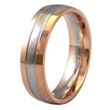 buy Men'S Stainless Steel Ring Unisex Rose Gold Tone Wedding Band 6Mm Wide Size 17