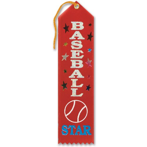 "Baseball Star Award Ribbon 2"" x 8"" Party Accessory"