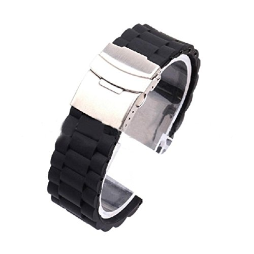 Changeshopping Mens Silicone Rubber Watch Strap Band Waterproof with Deployment Clasp 22mm