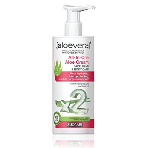 ZUCCARI [aloevera]², Crema universale all'Aloe vera, per mani, viso e corpo, 300 ml