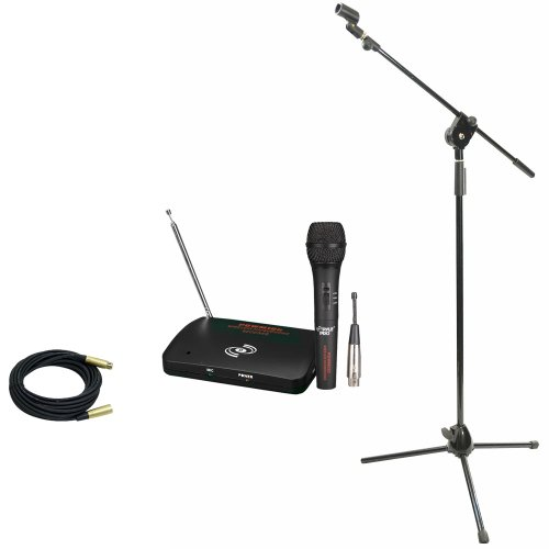 Pyle Mic And Stand Package - Pdwm100 Dual Function Wireless/Wired Microphone System - Pmks3 Tripod Microphone Stand W/ Extending Boom - Ppmcl30 30Ft. Symmetric Microphone Cable Xlr Female To Xlr Male