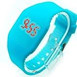 Blue Touch Screen Unisex LED Digital Watch Wristwatch Timepiece Gum Strap NEW