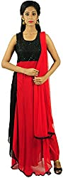 Aarshi Women's Crepe Stitched Salwar Suit (KMD/DS/001/1006_M, Red & Black, M)