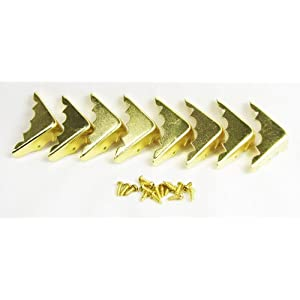 8pcs. Decorative Brass-Plated Box Corners w/mounting screws