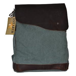 Canvas Leder Rucksack Backpack für Uni laptop Rucksack Reisetasche,38 x 33 x 14cm(H x B x T) (hell grün)