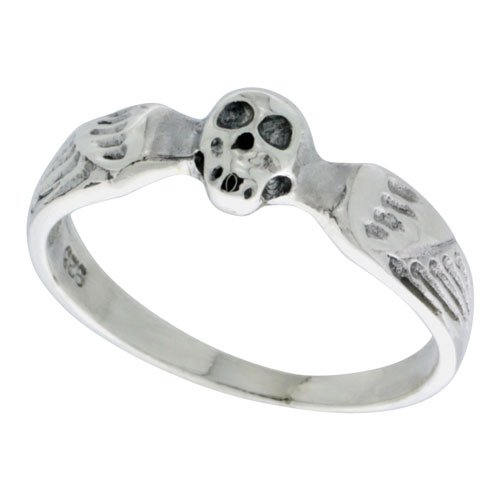 Sterling Silver Winged Skull Ring 3/16 inch wide, size 6.5