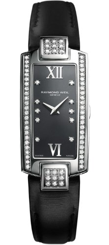 Raymond Weil Shine Diamond Anthracite Grey Dial Black Satin Ladies Watch 1500-ST2-00785