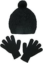 CTM® Girls Knit Hat with Rosette and Gloves Winter Set