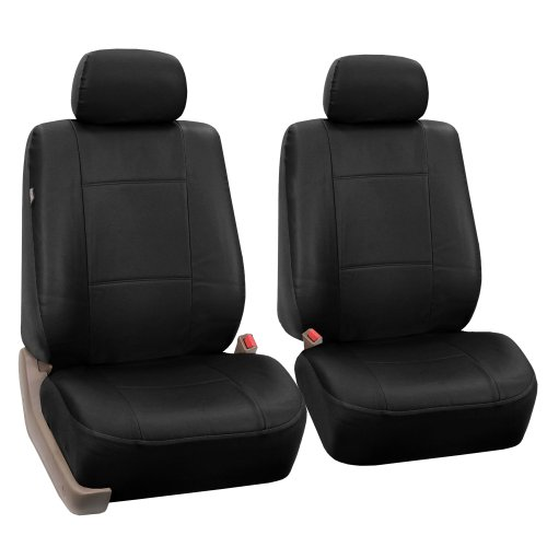 FH-PU002-1102 Classic Exquisite Leather Bucket Seat Covers, Airbag compatible, Solid Black color (Front Leather Seat Covers compare prices)