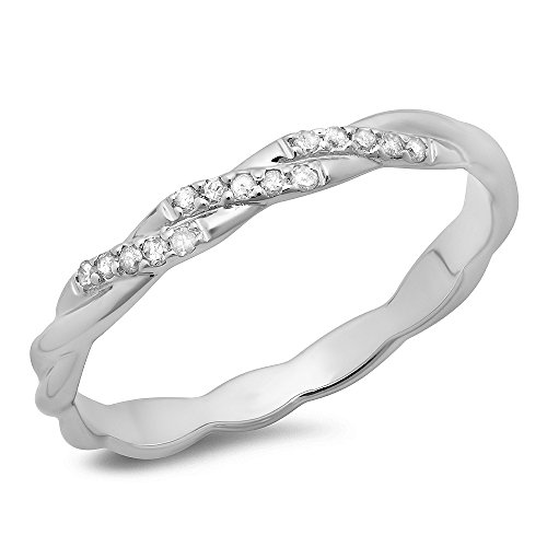 010-Carat-ctw-14K-Gold-Round-Cut-Diamond-Ladies-Swirl-Anniversary-Wedding-Band-Stackable-Ring-110-CT