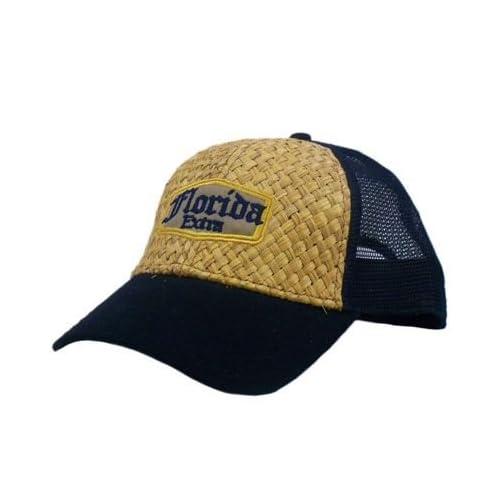 HAT CAP CORONA STYLE STRAW NOVELTY SNAP BACK FLORIDA EXTRA NAVY BLUE