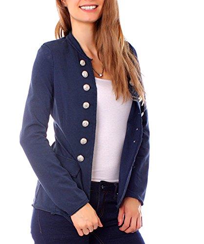 Damen-Military-Jersey-Blazer-Jacke-Vintage-Style-L40-marine