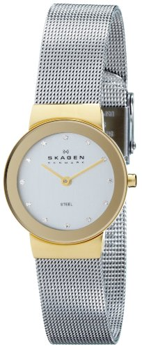 Skagen Ladies Watch 358SGSCD with Silver Stainless Steel Bracelet and Silver Dial