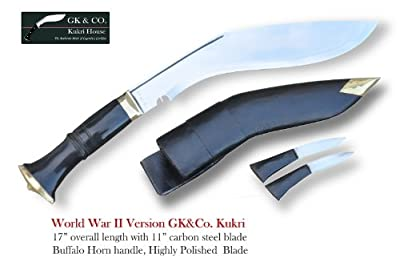 "Official Issued -Genuine Gurkha Kukri Knife - 11"" Blade World War II Hihgly Polished Kukri - Handmade by GK&CO. Kukri House in Nepal. by GK&CO. Kukri House"