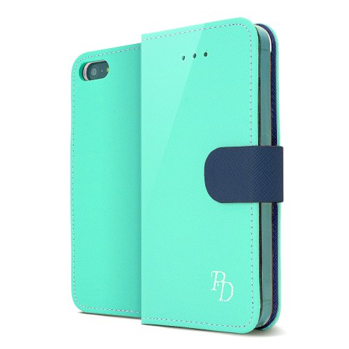 RS Fancy Mint/ Navy Faux Leather Diary Flip Hard Case w/ ID Slots & Wrist Strap for Apple iPhone 5/5S