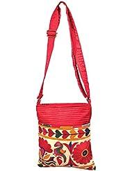 MinkysDecor Indian Antique Handwork Hand Embroidered Shopping Bag Shoulder Bag Hobo Bag Sling Bag Purse Multicolour... - B01HXPQZG2