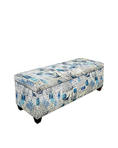 MJL Furniture Sole Secret Small Upholstered Shoe Storage Bench, Blue