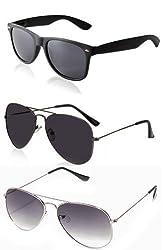Magjons 2 Black - Gray Aviator And 1 Wayfarer Sunglasses For Men Combo of 3