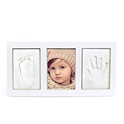 Baby Boy Girl Handprint Footprint, Safe Clay Babyprint Casting Impression Kit, Classic Desktop Wooden Photo Frame, Baby Gift for Registry White