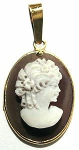 Cameo Pendant Sterling Silver 18k Gold Overlay Sardonyx Shell Master Carved Italian