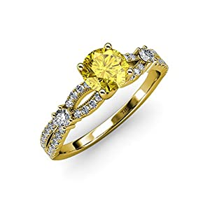 Yellow Sapphire and Diamond Split Shank Engagement Ring 1.40 ct tw in 14K Yellow Gold.size 9