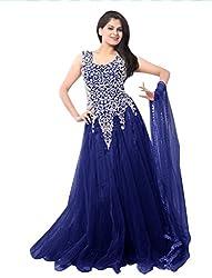 Ethnicbasket Women's Net Gown (BE234014B_Blue_Free Size)