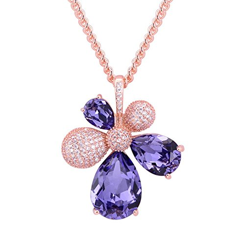The Starry Night Happiness Lucky Flower Purple Crystal Drop Pendant Rose Gold Plated Deluxe Necklace