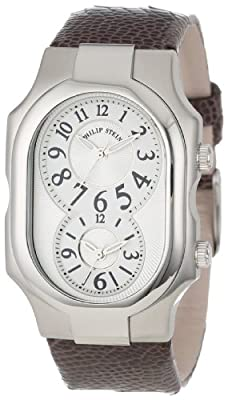 Philip Stein Unisex 2-NFW-OCH Signature White Dial Chocolate Ostrich Strap Watch