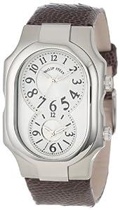 Philip Stein Unisex 2-NFW-OCH Signature White Dial Chocolate Ostrich Strap Watch