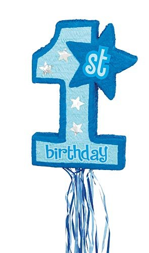 Blue 1st Birthday Pull String Pinata - 1