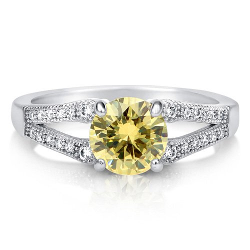 Round Canary CZ 925 Sterling Silver Split Shank Solitaire Ring 1.28 ct - Nickel Free Engagement Wedding Ring Size 7